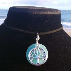 Lite Blue Sea Glass Tree of Life Necklace #C
